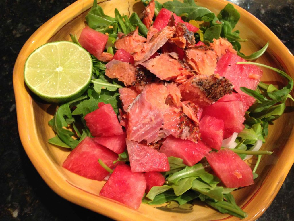 salmon and watermelon salad photo